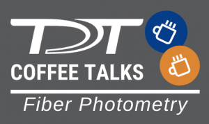 """Two line drawings of coffee cups with the words """"TDT Coffee Talks - Fiber Photometry"""""""