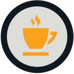 black circle around golden coffee cup