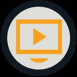 black circle around gold rectangle with forward arrow inside - webinars