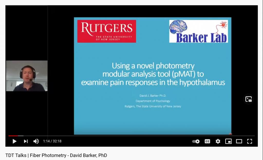 screenshot of David Barket preseting on Fiber Photometry during a TDT Talks presentation