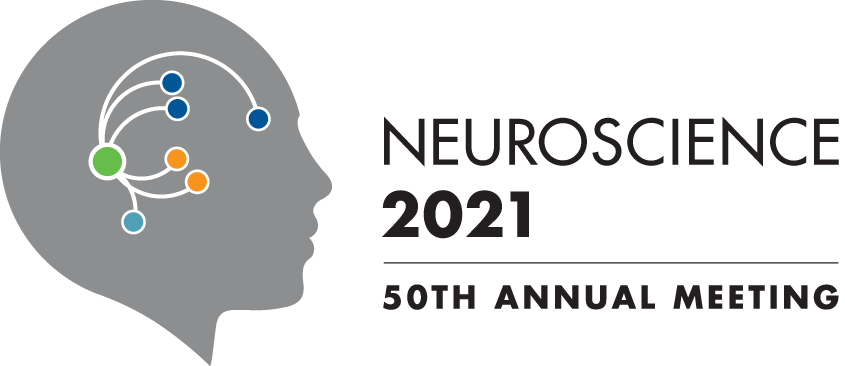 """SfN logo - silhouette of human head with neurocircuits and the words """"Neuroscience 2021 - 50th Annual Meeting"""""""