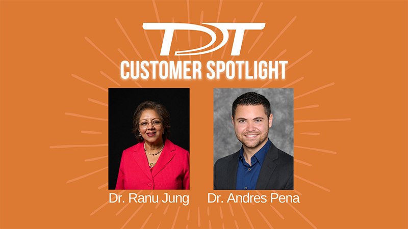 """Images of Drs. Jung and Pena on an orange background with the text in white """"TDT Customer Spotlight"""" and their names underneath."""